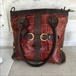 Michael Rome Leather Purse Bag Tote Croc Embossed